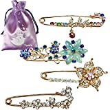 kilofly 4pc Womens Fashion Novelty Brooch Jewelry Charm Pins + Gift Pouch Set