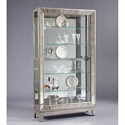 Pulaski Side Entry Curio, 46 by 14 by 82-Inch, Silver (Glass China Cabinet Mirrored)