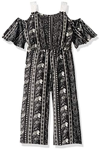 One Step Up Girls' Toddler Knit Jumpsuit, Black Print, 3T]()