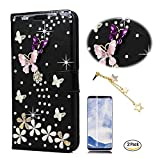 STENES Galaxy S9 Plus Case - 3D Handmade S-Link Butterfly Floral Wallet Card Slots Fold Leather Cover Case Pink Meteor Stars Dust Plug,Screen Protector for Samsung Galaxy S9 Plus - Black