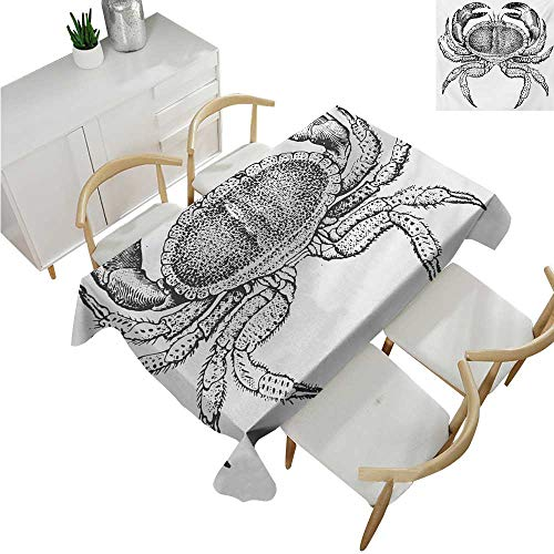 (familytaste Crabs,Party Table Cloth,Seafood Themed Design Vintage Engraved Illustration of an Edible Crab Print,Table Flag Home Decoration 60