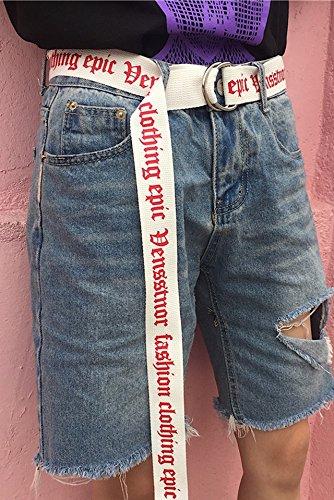 Generic Fashionable men and women double loop buckle canvas belt Beautiful sweet printed letters belt belt women girls lady Thai Long