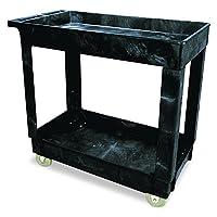 Rubbermaid Commercial Products - Carro de servicio /utilidad de 2 estantes, Estantes pequeños, con borde, Mango estándar, 500 lbs. Capacidad, para almacén /garaje /limpieza /fabricación (FG9T6600BLA)