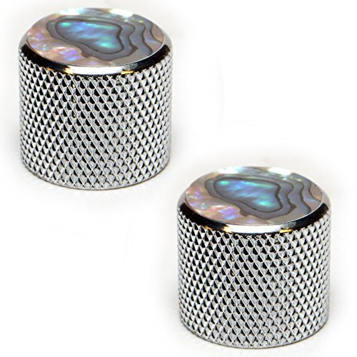 Seismic Audio - SAGA44-2 Pack of Chrome and Pearloid Knurled Metal Replacement Knobs for Electric Guitar