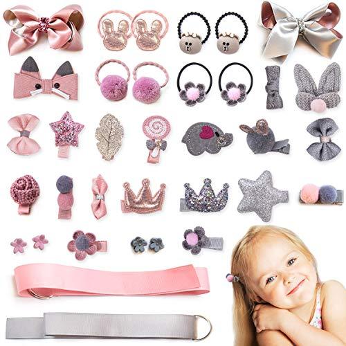 36pcs Baby Girls Hair Clips Elastic Ties Cute Hair Bows Claw Clip for Toddler Hair Accessories Gift Box Set