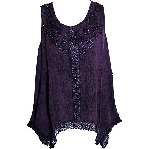 Yoga Trendz Indian Bohemian Marble Wash Embroidered Cotton Sleeveless Cami Blouse Top (Regular, Purple) (Marble Renaissance)