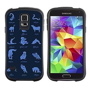 Hybrid Anti-Shock Bumper Case for Samsung Galaxy S5 / Animal Pose