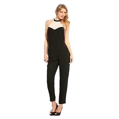 8cf205db44d Amazon.com  GUESS Women s Tux Halter Jumpsuit Open Back Jet Black ...