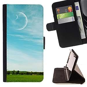 BullDog Case - FOR/Apple Iphone 5 / 5S / - / Nature Field Moon /- Monedero de cuero de la PU Llevar cubierta de la caja con el ID Credit Card Slots Flip funda de cuer
