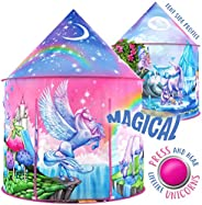 W&O Rainbow Unicorn Kids Tent with Magical Unicorn Sounds, Princess Tent for girls, Pop Up Tent for Kids,