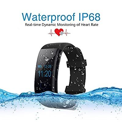 Wis&Umi® A10 Silicone Sport Bracelet Fitness Tracker, IP68 Waterproof and Bluetooth 4.0, Touch-Screen Control, Support IOS and Android System