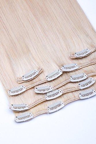 Clip In Extensions Echthaar Haarverlängerung Set - 7 Haarteile - in 35, 40, 45, 55 oder 60 cm Haarlänge - Haarfarbe: Nr. 60 Weißblond