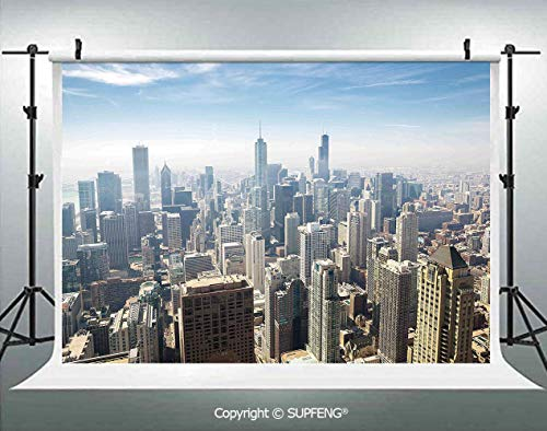 Photography Backdrops Aerial View of Chicago USA Tall Buildings Contemporary Architecture Skyscrapers 3D Backdrops for Photography Backdrop Photo Background Studio Prop]()