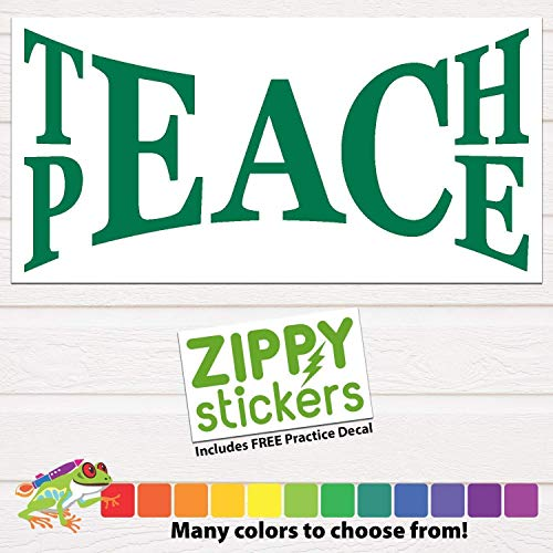 Teach Peace Decal Custom Vinyl Sticker, Unity Peace Decal, Teach Peace on Earth, School Teacher Decal, personalized for Car Windows, YETI RTIC Tumbler Cups, Laptops. Color Size - Notw Window Stickers
