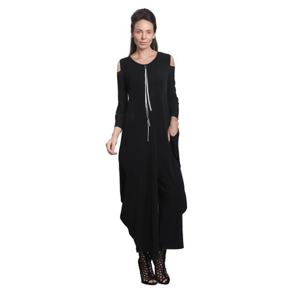 IC Collection Cold Shoulder Jumpsuit In Black Plus Size Available 8419 (Large)