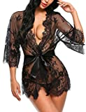 ADOME Women's Kimono Robe Lace Babydoll Lingerie Sheer Nightgown Sleepwear Black M