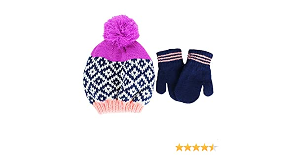 307a5d24e01 Amazon.com  Carter s Infant Girls Knit Winter Ski Hat and Mittens 12-24  mths Navy Purple  Clothing