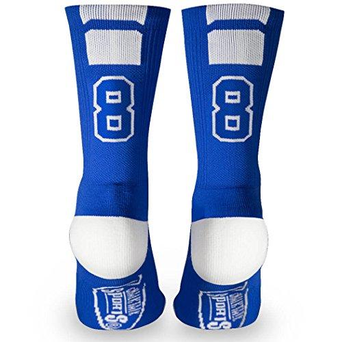 Custom Team Number Crew Socks | Athletic Socks by ChalkTalkSPORTS | Blue | 88 -