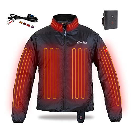 Venture Heat 12V Motorcycle Heated Jacket Liner with Wireless Remote - 75.0W Deluxe Motorcycle Jacket for Men and Women (XL)