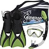 Seavenger Diving Snorkel Set - (Green) - M