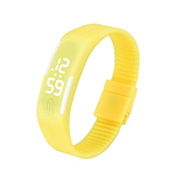 Xinantime Relojes Pulsera Mujer Hombres,Xinan Caucho LED Reloj Deportivo Digital (Amarillo): Amazon.es: Deportes y aire libre