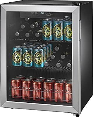Insignia - 78-Can Beverage Cooler - Stainless steel/black