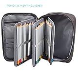 LANIAKEA 72 Slots Oxford Canvas Pencils Case, Detachable Large Capacity Zipper Pens/Pencil Bag, Black
