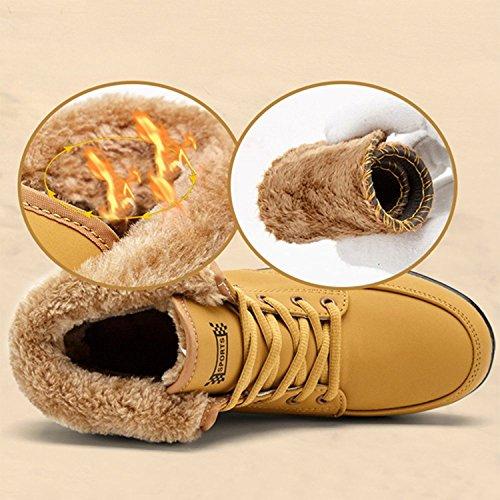 Cuña Zapatos Minetom Mujer Suave Botas De Deportivo Calzado Amarillo Felpa Impermeable Forro Suela Con Invierno Caliente Antideslizante Botines PPqvRAwxrd