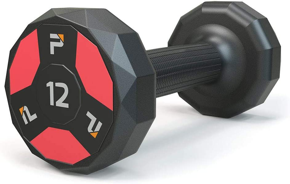 Power Systems Cardio Dumbbell with Color Coded Ends - No Roll Edges - Knurled Handles