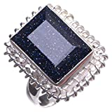 StarGems(tm) Natural Sun Sitara Handmade Boho 925 Sterling Silver Ring, US size 6.25