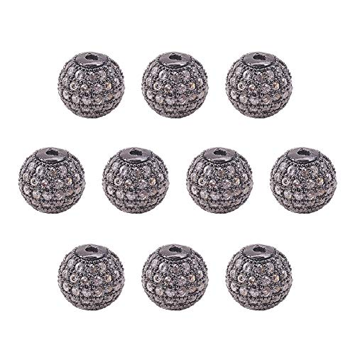 - NBEADS 10PCS 10mm Brass Micro Pave Cubic Zirconia Gunmetal Round Beads Clear Gemstones Cubic Zirconia Round Beads Bracelet Connector Charms Beads for Jewelry Making
