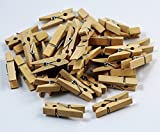 CHENGYIDA Pack of 200 Mini, Natural Clothespins, Wood - 35mm