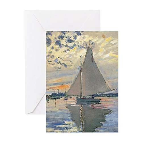 CafePress - Monet Sailboat French Impressionist Greeting Cards - Greeting Card, Note Card, Birthday Card, Blank Inside Glossy (Sailboat A Inside)