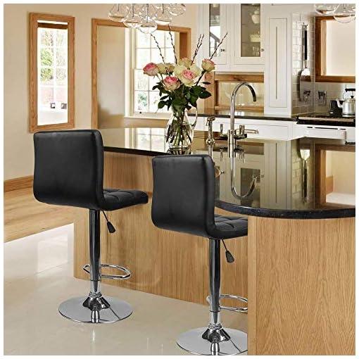 Kitchen Homall Bar Stools Modern PU Leather Adjustable Swivel Barstools, Armless Hydraulic Kitchen Counter Bar Stool Synthetic… modern barstools