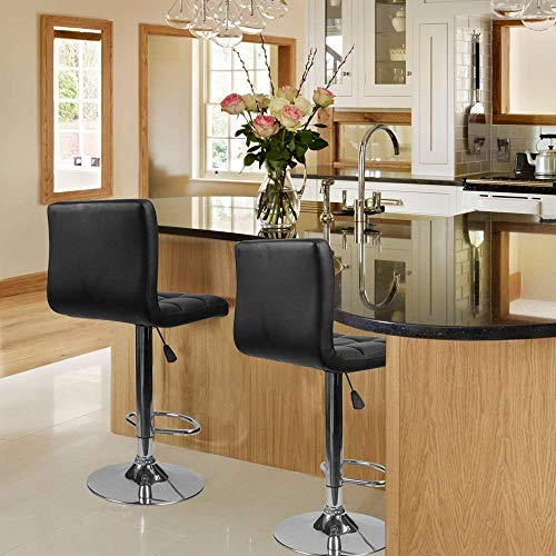 Homall Modern PU Leather Adjustable Swivel Barstools, Armless Hydraulic Kitchen Counter Bar Stools Synthetic Leather Extra Height Square Island Bar Stool with Back Set of 2(Black)