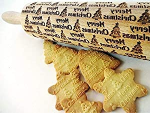 MERRY CHRISTMAS embossing Rolling pin. Christmas tree laser engraved embossing rolling pin for homemade Christmas