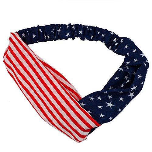 Lux Accessories Small Print American Flag Patriotic Head wrap