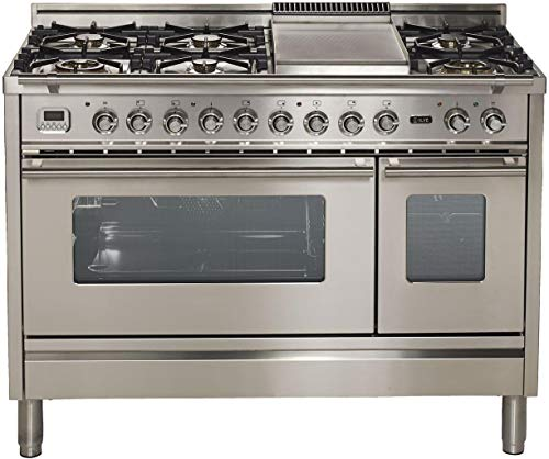Ilve UPW120FDMPILP 48 Inch Dual Fuel Freestanding Range in Stainless Steel