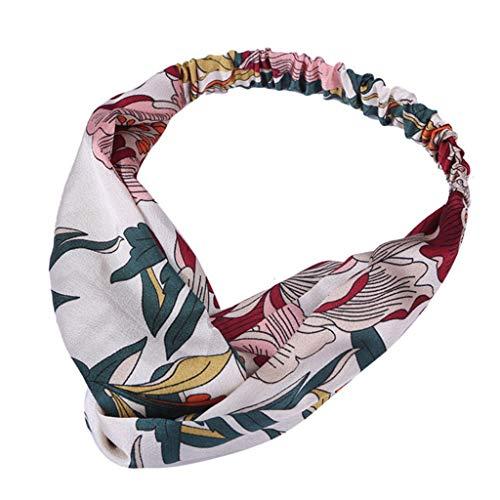 hositor Headbands for Women, Women Vintage Flower Printed Elastic Head Wrap Twisted Cute Hair Accessories White ()