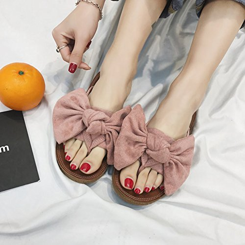 Bowknot Sandal Pink Flip Outdoor Flat Womens Slip Btrada Shoes Flops Anti Cute Summer nw1OAqxC