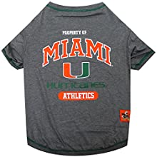 Pets First Collegiate Miami Hurricanes University Dog Tee Shirt, Large