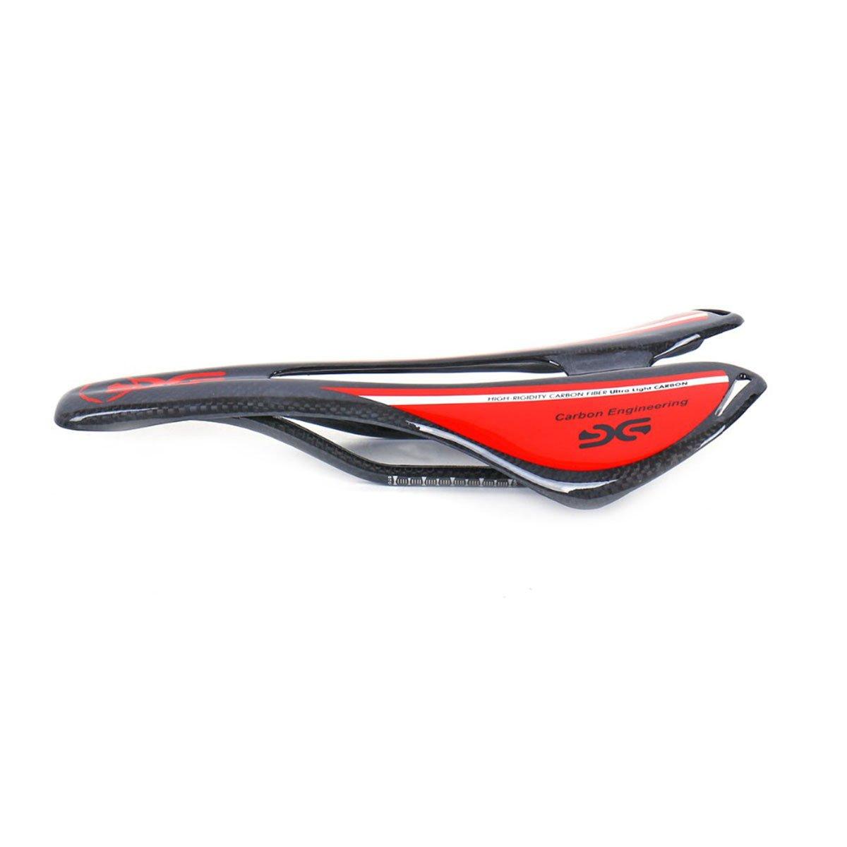 ELITA ONE Super ligero de fibra de carbono Ciclismo Sillines,bicicleta de carretera/bicicleta de montaña carbono Sillines,3K Rojo, verde, azul(Brillante) (Rojo) Ltd.