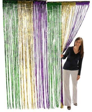 Metallic Mardi Gras Fringe Banner - Metallic Mardi Gras Fringe Curtains (1 pc)