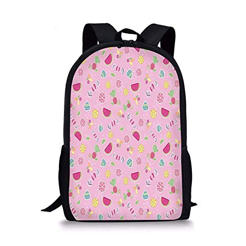- School Bags Sweet,Candies Yummy Treats Watermelon Creative Delicious Tastes Kids Design,Light Pink Magenta Mint for Boys&Girls Mens Sport Daypack