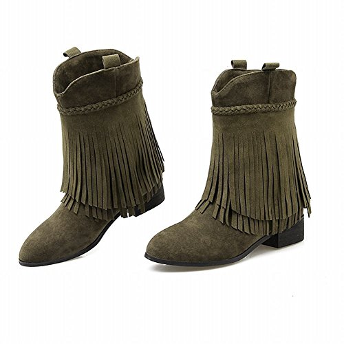 Carolbar Womens Tassels Retro Pointed Toe Vintage Low Heel Short Boots Army Green 0ZNemx