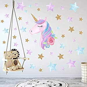 Cocobee Unicorn Wall Stickers Rainbow Colors Wall Decals Reflective Wall Stickers for Girls Bedroom Playroom Decoration (Blue Unicorn,Stars and Love Hearts)