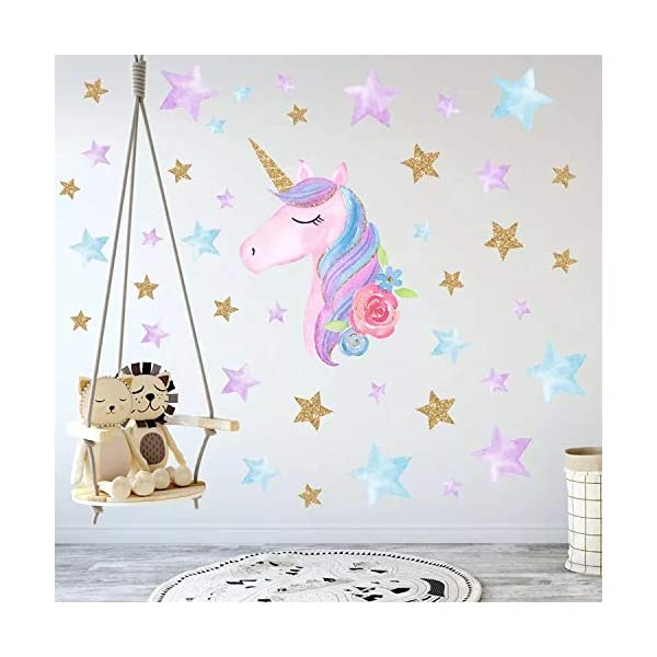 Cocobee Unicorn Wall Stickers Rainbow Colours Wall Stickers Stars Wall Decals for Girls Baby Children Bedroom Playroom… 4