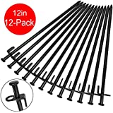 BareFour Tent Stakes, Heavy Duty Camping Stakes 12-Inch Forged Steel Tent Pegs Unbreakable and Inflexible - Available in Rocky Place Dessert Snowfield and Grassland
