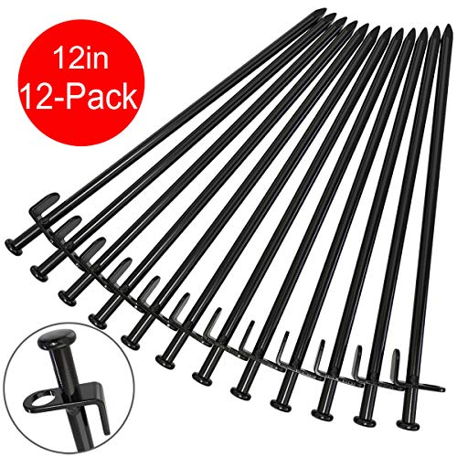 BareFour Tent Stakes, Heavy Duty Camping Stakes 12-Inch/8-Inch- Forged Steel Tent Pegs Unbreakable and Inflexible - Available in Rocky Place Dessert Snowfield and Grassland