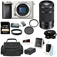 Sony Alpha a6000 Mirrorless Camera w/ 55-210mm f/4.5-6.3 OSS Lens & 32GB SD Card Bundle (Silver)